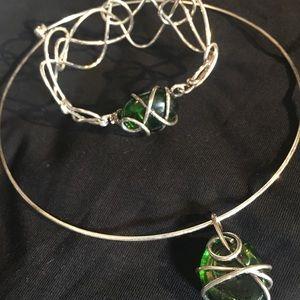 Venetian necklace & bracelet- silver wire w glass